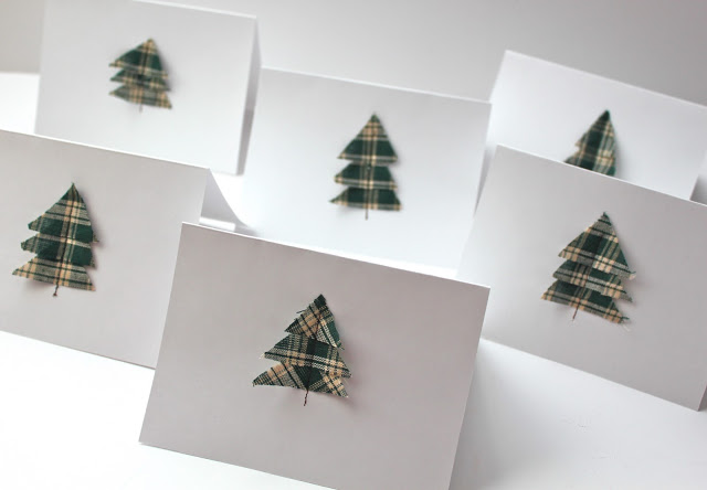 Scrap fabric Christmas tree cards