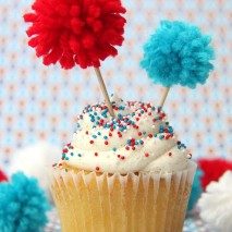 TUTORIAL: Easy Pom-Pom Firecracker Cupcake Toppers