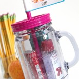 Really cute mason jar tumbler Teacher Gift with FREE printable flags!