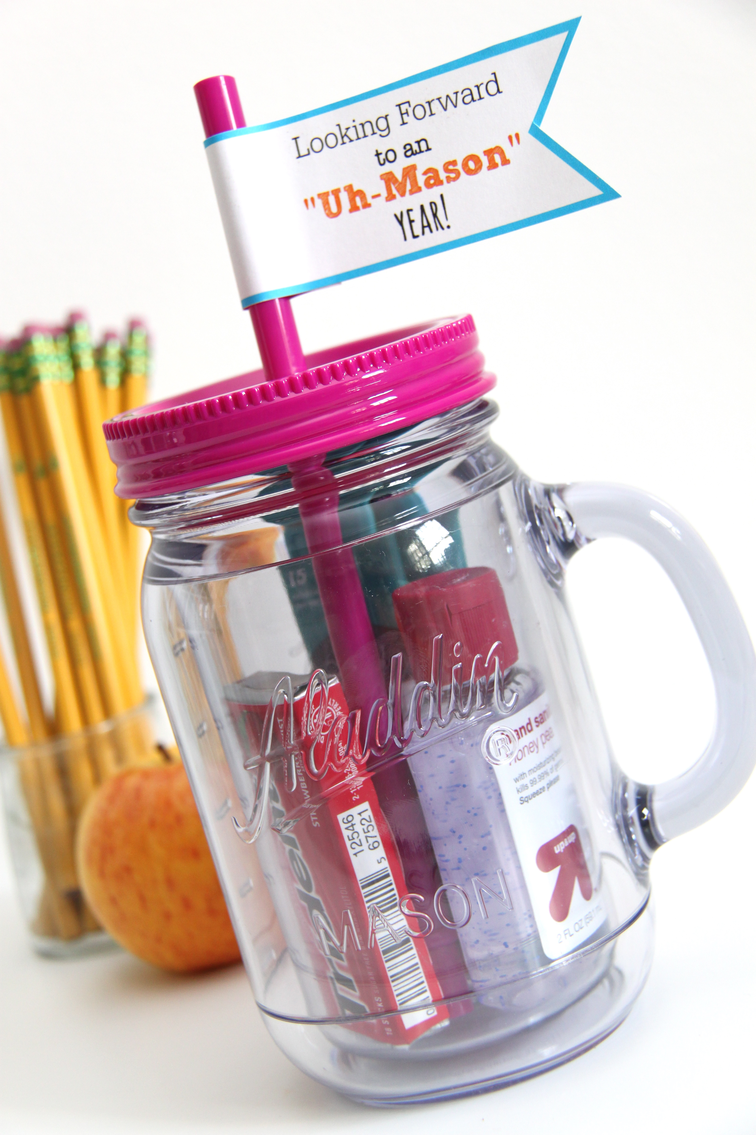 Mason jar tumbler teacher gift with free printables for What to fill mason jars with for christmas