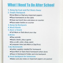 After School Routine-FREE Printable
