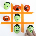 Spooky Tic Tac Toe Game with Halloween Painted Rocks