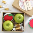 Love this idea of gifting apple and caramel boxes in the fall. What a fun happy gift!