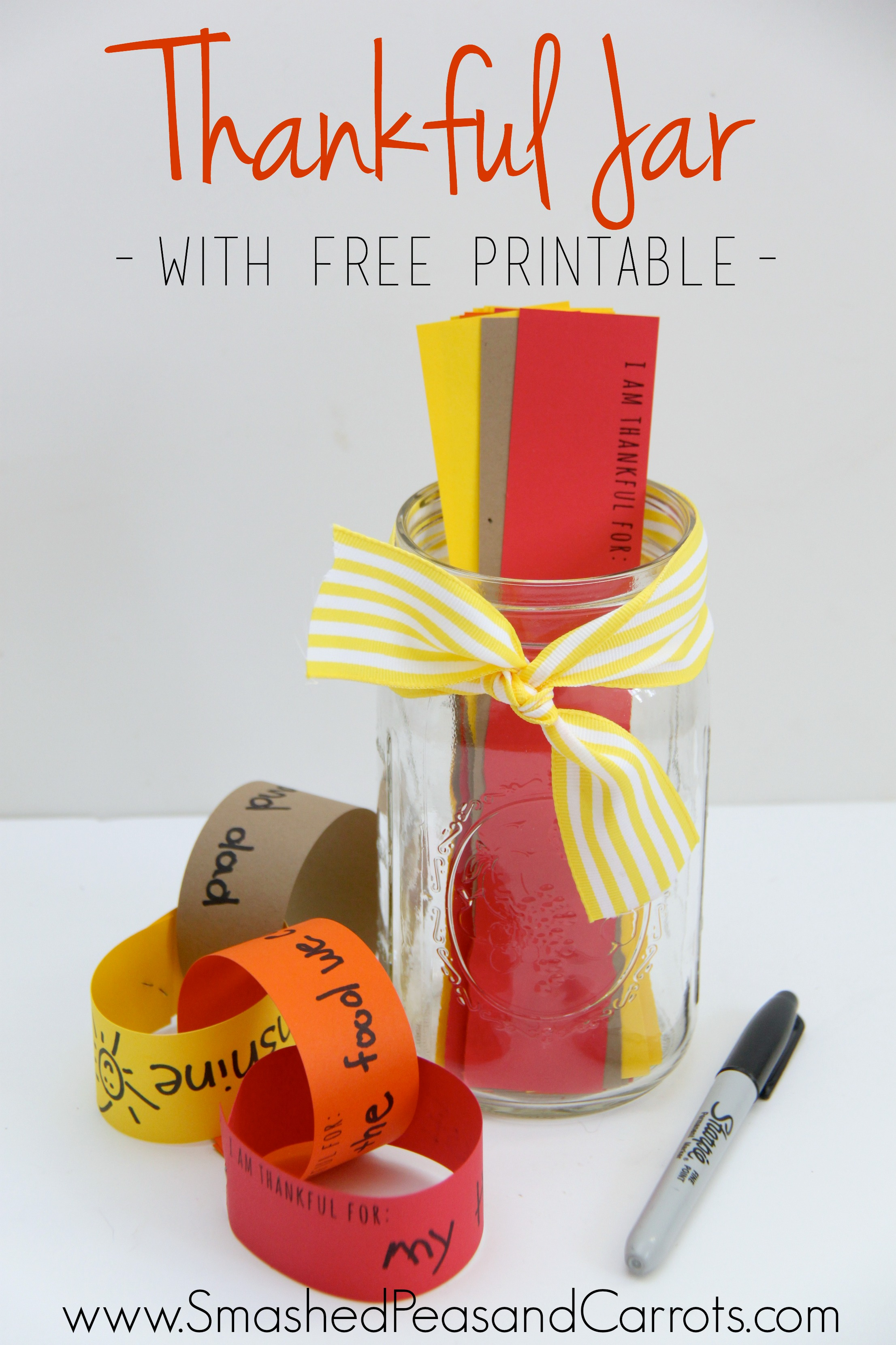 Thankful Jar With Free Printable For A Thankful Paper