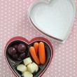 Valentine Bento Snack Box using a empty chocolate heart box