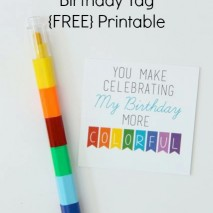 Colorful Crayon Birthday Tag with FREE Printable