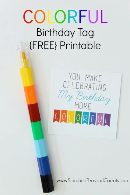 picture relating to Crayon Printable named Vibrant Crayon Birthday Tag with Totally free Printable - Smashed