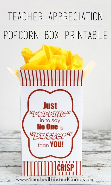 Thank you gift idea: Popcorn Box Free Printable // Smashed Peas and Carrots