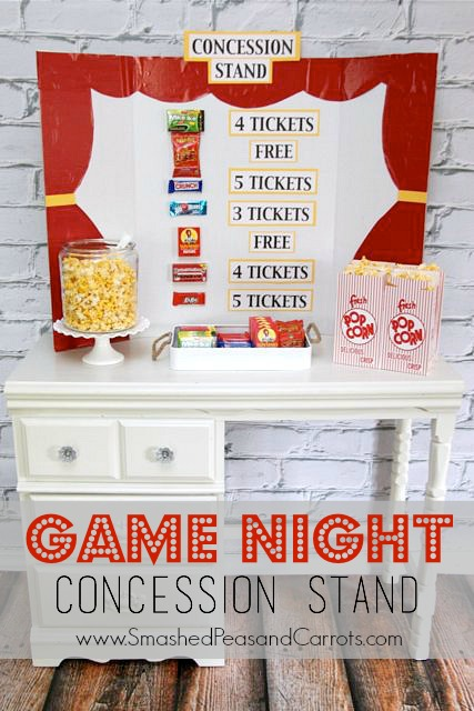 Game Night Concession Stand…such a cute idea // Smashed Peas and Carrots