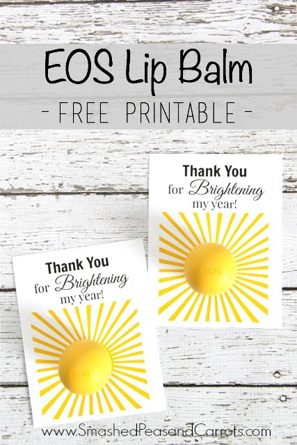 photograph regarding You're the Balm Free Printable named EOS Lip Balm Thank On your own Absolutely free Printable - Smashed Peas Carrots