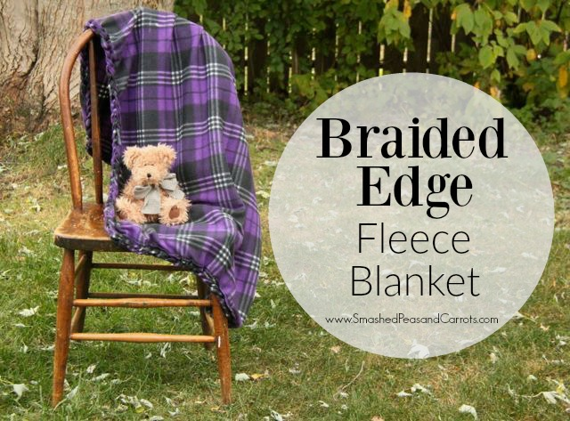 Super cute and easy Braided Edge Fleece Blanket Tutorial // SmashedPeasandCarrot.com