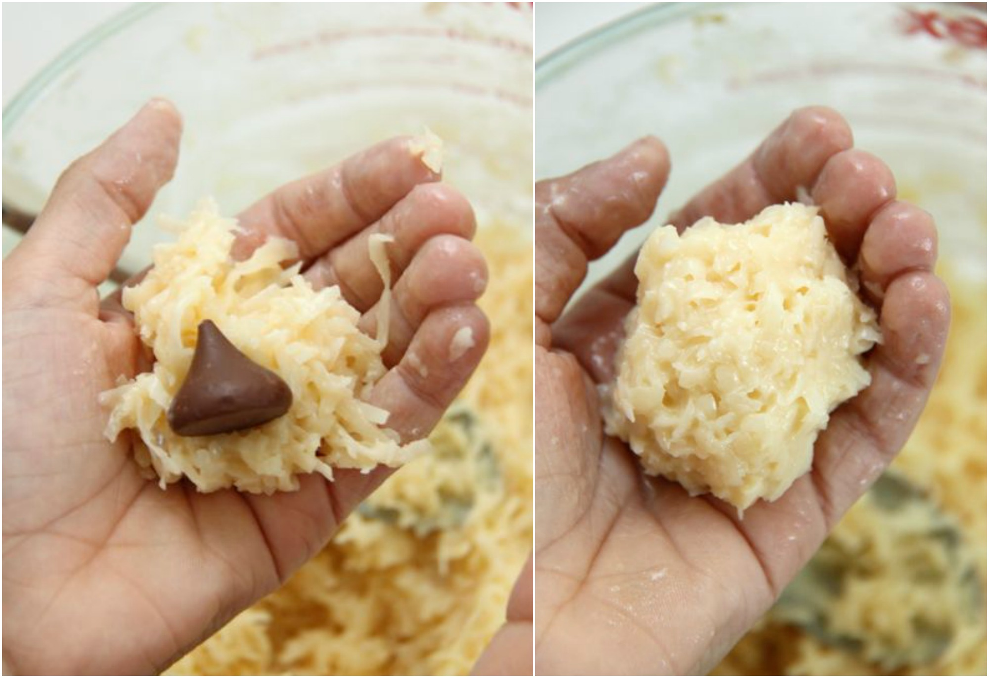 Yummy and Easy Hershey Kiss Stuffed Coconut Macaroons Recipe // SmashedPeasandCarrots.com