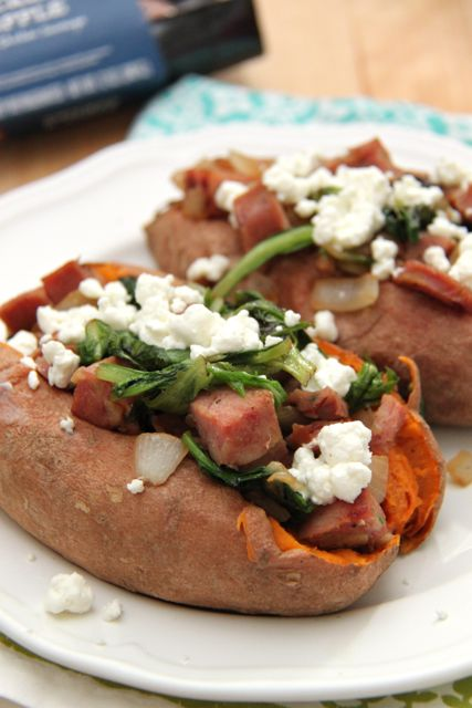 Chicken & Apple Sausage and Goat Cheese Stuffed Sweet Potatoes Recipe // SmashedPeasandCarrots.com