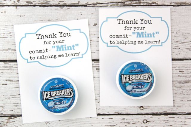 Teacher Gift Idea: 'Thank You for Your Commit-Mint' with FREE Printable // SmashedPeasandCarrots.com