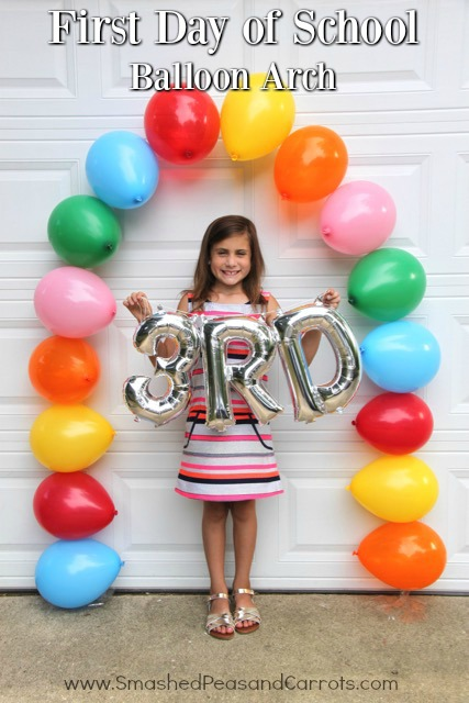First Day of School Easy Balloon Arch // SmashedPeasandCarrots.com