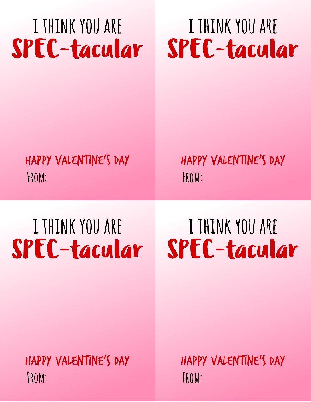 Free Spec Tacular Valentine Card Printable Smashed Peas Carrots
