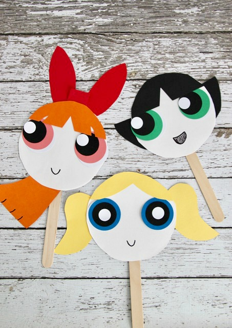Easy Kids Craft The Powerpuff Girls Paper Plate Face Masks & The Powerpuff Girls Paper Plate Masks - Smashed Peas u0026 Carrots