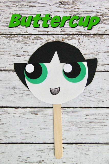 Powerpuff Girls Buttercup Paper Plate Mask