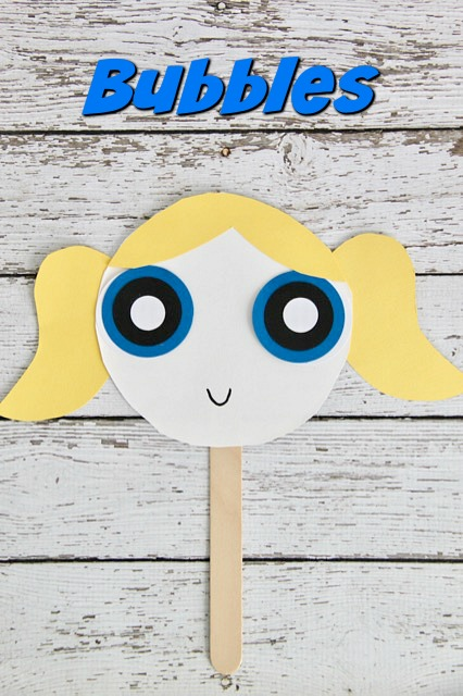 Powerpuff Girls Bubbles Paper Plate Mask