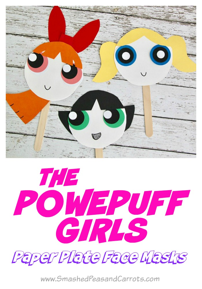 The Powerpuff Girls Paper Plate Masks  sc 1 st  Smashed Peas u0026 Carrots : paper plate face masks - Pezcame.Com