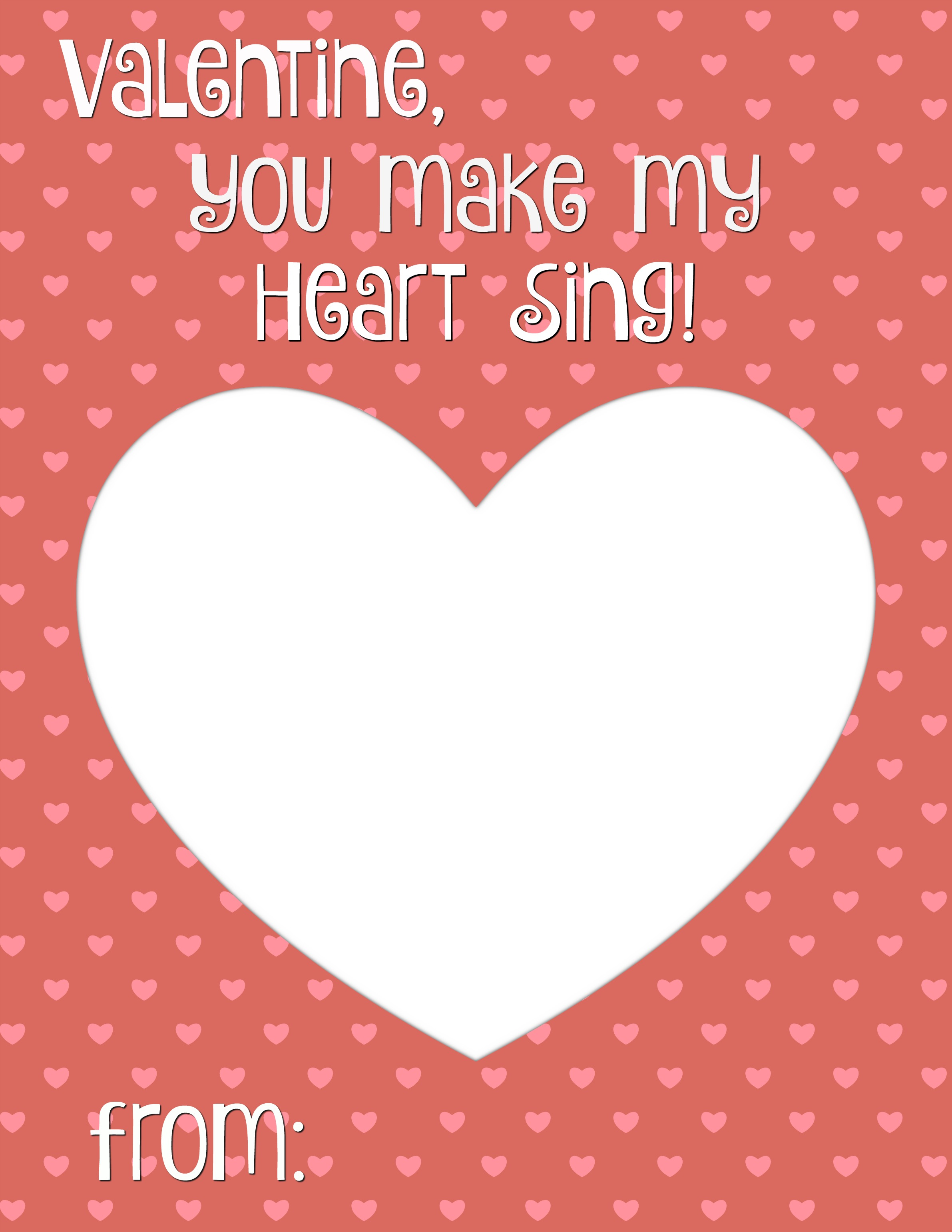 image regarding Valentines Cards Printable identified as Yourself Generate My Middle Sing Valentine Card Printable - Smashed