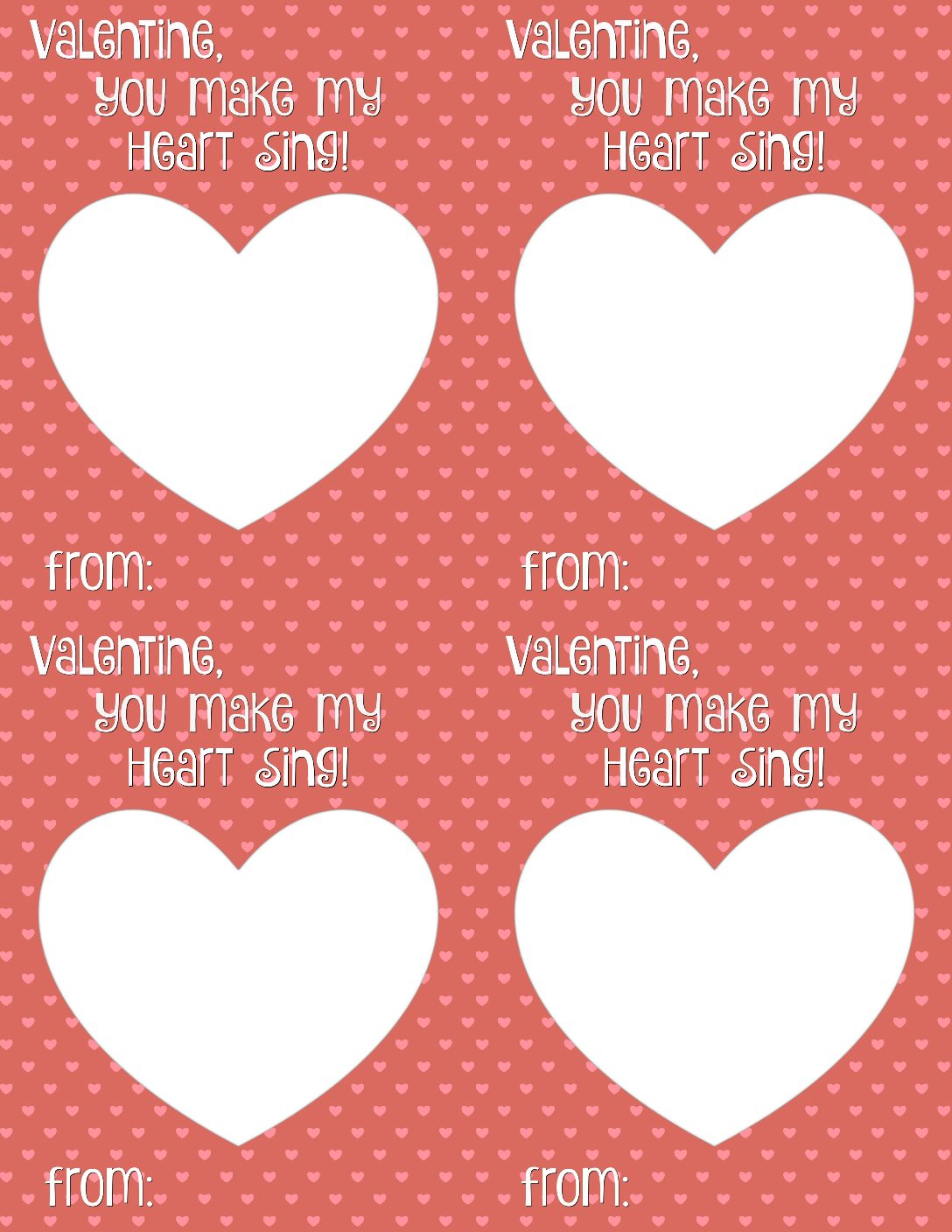 You Make My Heart Sing Valentine Card Printable Smashed Peas Carrots