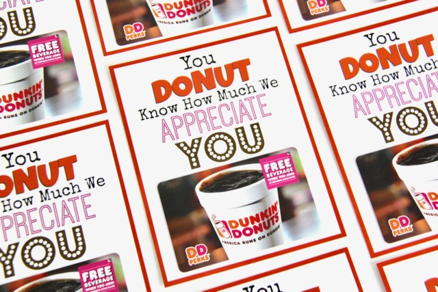 Dunkin Donuts Thank You Printable