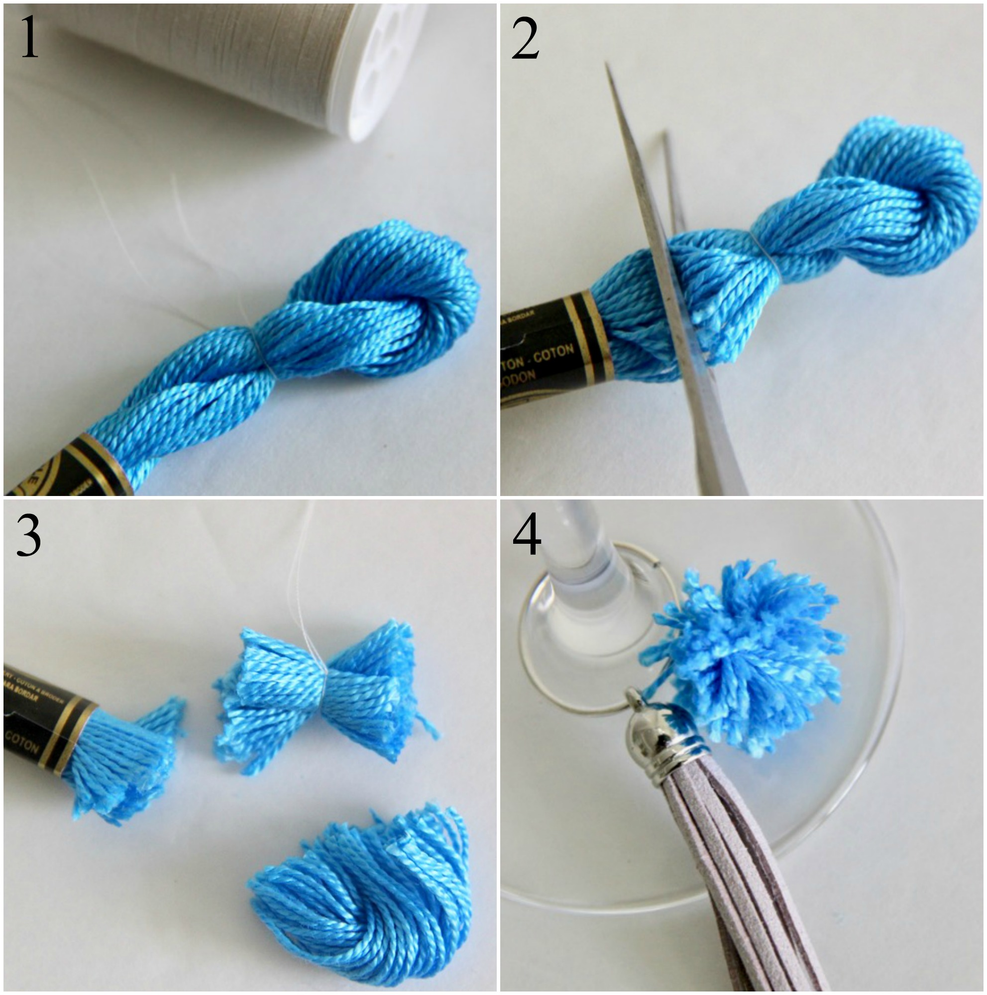 Tiny Embroidery Floss Pom Poms