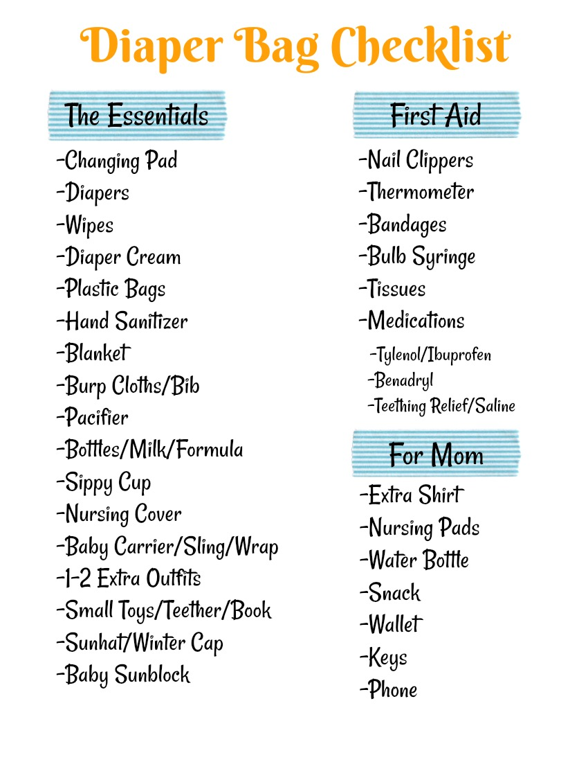 checklist for diaper bag