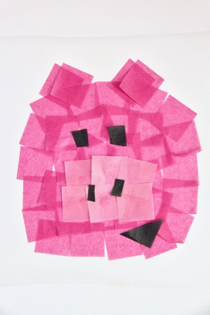 Piggie Stained Glass Tissue Paper Art