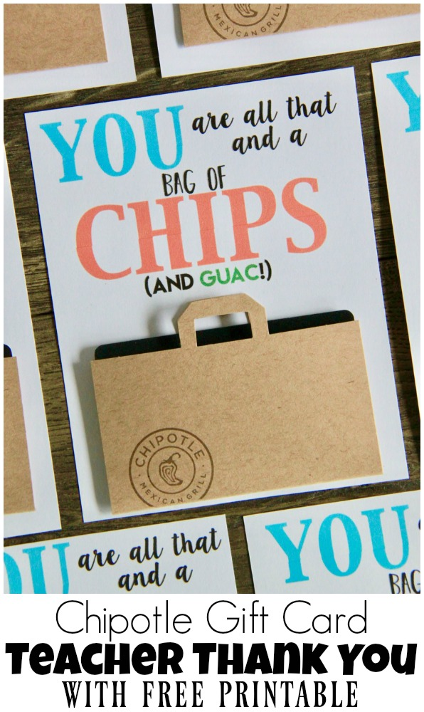 image regarding You're All That and a Bag of Chips Free Printable called Chipotle Reward Card Instructor Thank Yourself