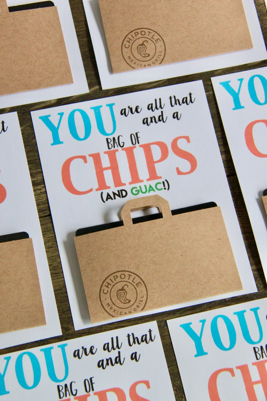 photograph relating to All That and a Bag of Chips Printable known as Chipotle Present Card Instructor Thank On your own